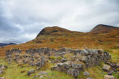 The ruins of Bà Cottage at the foot of Creag an Fhirich.  Scotland.