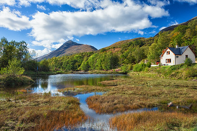 For my sixth night, I set up camp on the western shore of Loch Leven with a view up to Beinn na Caillich.  Scotland.