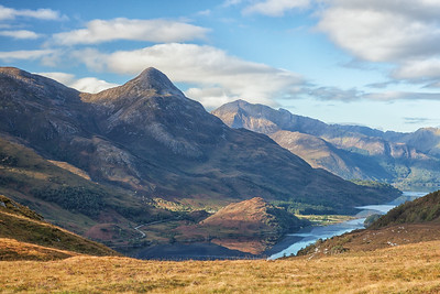 My seventh morning started with an 1,100-foot climb overlooking Loch Leven, with the peak of Pap of Glencoe in the distance.  Scotland.