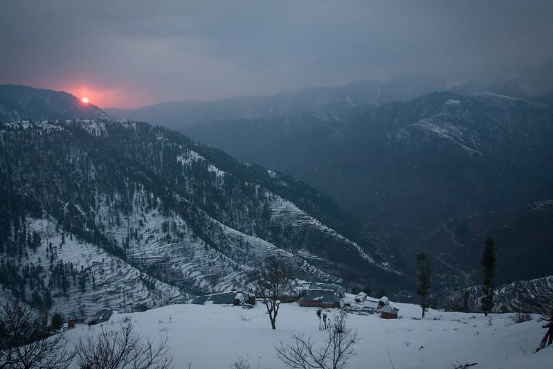 Sunset over an early winter snow near Shogran, Kaghan