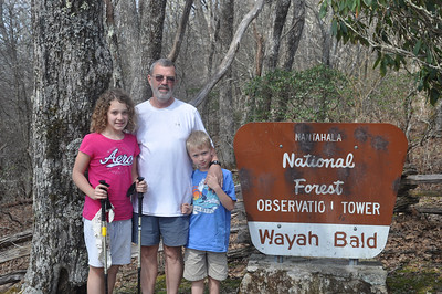 Emily, Mitchell and Muddy at Wayah Bald 5342'