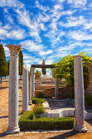 """The """"House of the Birds"""" in the old Roman city of Italíca, outside of Santiponce, Spain."""