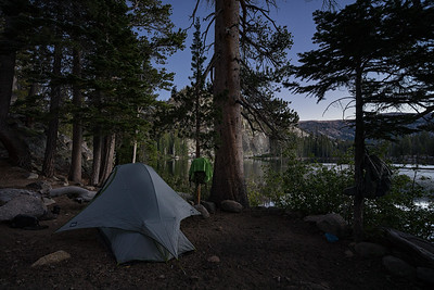 Camped out at Dardanelles Lake at dusk