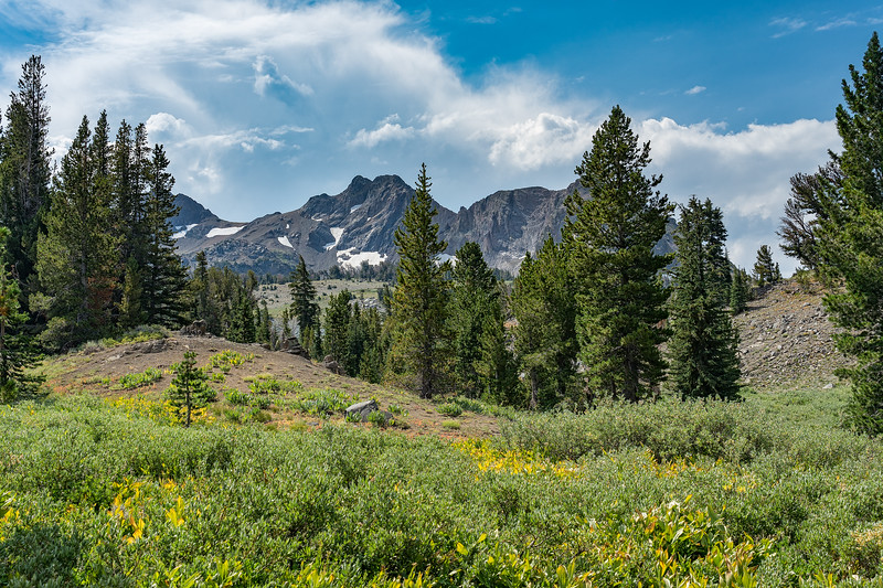 Storm clouds forming over The Sisters, Mokelumne Wilderness