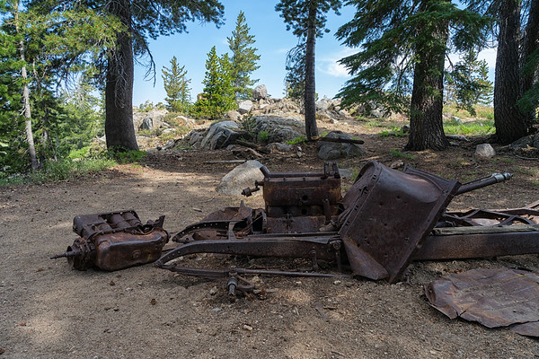 Stumbling across an old car chassis near a mine site on the trail to Round Top Lake.