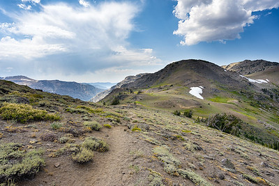 The trail to Fourth of July Lake, with some snow remaining on Fourth of July Peak