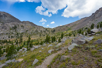 Looking up towards Fourth of July Peak from near the lake of the same name