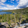 The top of Cascade Falls with views of Cascade Lake and Lake Tahoe.