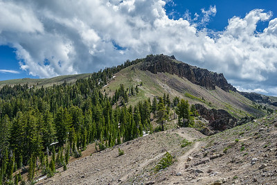 On the east side of Castle Pass, before ascending Castle Peak.  You can see the trail zigzagging up to the top, on the north side of the peak.