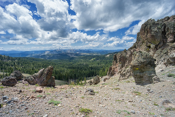 Castle Peak is volcanic in origin and is surrounded by interesting volcanic features.  This is looking sout towards Sugar Bowl, Olympic Valley, and Desolation Wilderness in the distance.