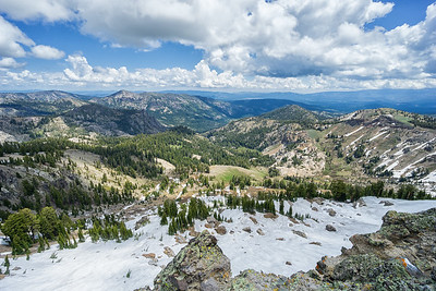 Looking west from Castle Peak.  The view is bounded by Carpenter Ridge to the left, Donner Ridge to the right, and Boca Reservoir in the distance.