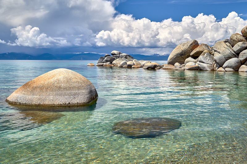 Stacks of boulders common on the east shore of Lake Tahoe.