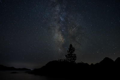 The Milky Way and Perseid meteor shower from Hidden Beach, Nevada.
