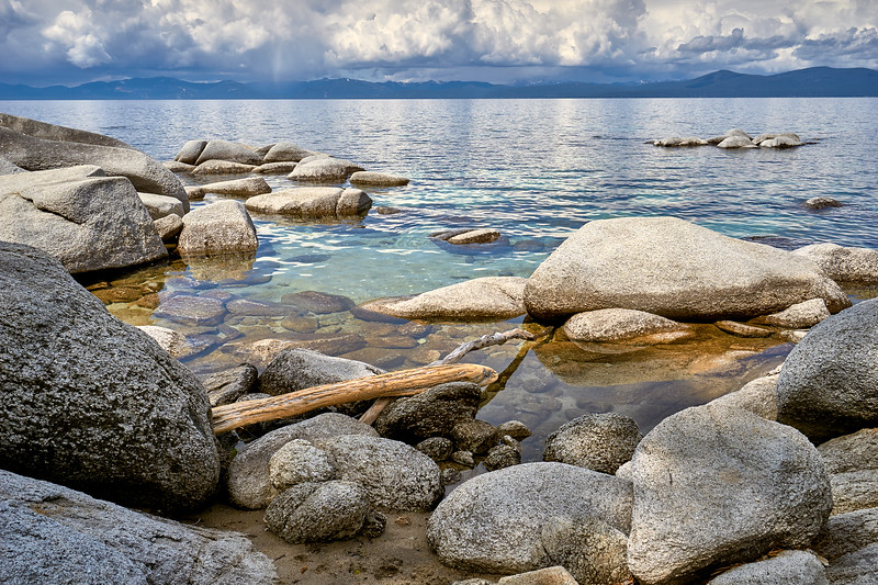 Virga (rain that evaporates before hitting the ground) on the west shore of Lake Tahoe, from Chimney Beach.