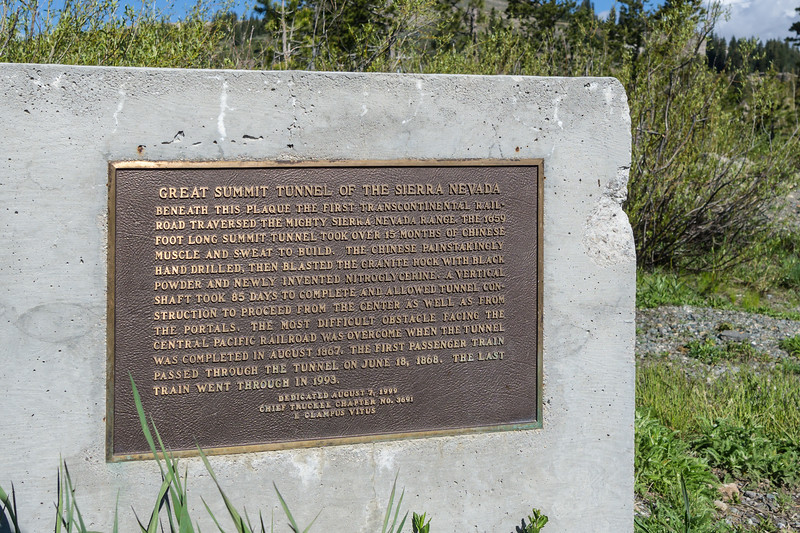 Plaque commemorating the Chinese construction workers who built the Great Summit Tunnel of the Sierras.