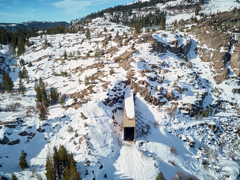 Aerial view of the Donner Summit Railroad Tunnels