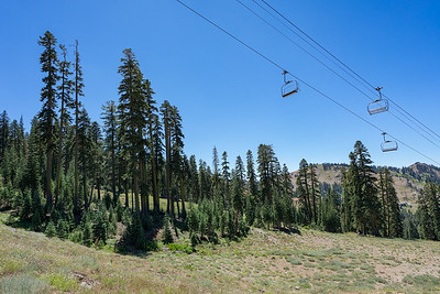Passing under the Mt. Judah Express chairlift on the Mt. Judah Loop trail.