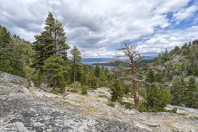 View of Lake Tahoe and Emerald Bay from the vista point at the top of the Eagle Falls Loop trail.