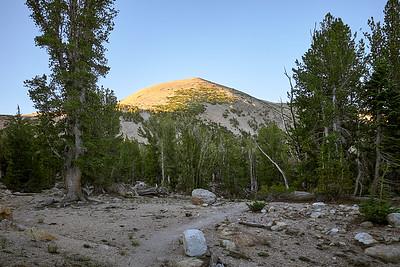 Sunlight hitting Freel Peak, walking along the Tahoe Rim Trail.