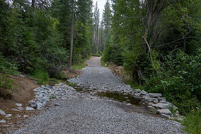 The High Meadow Trail Road at one of the stream crossings.