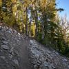 After departing Star Lake on the Tahoe Rim Trail, with peeking views of Lake Tahoe.