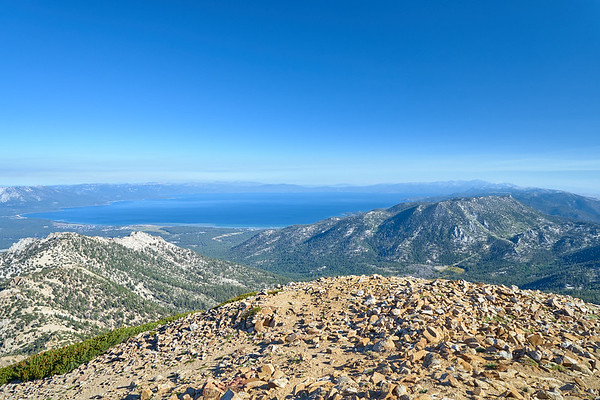 South Lake Tahoe on a hazy morning from Freel Peak.