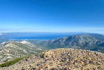 South Lake Tahoe on a hazy morning from Freel Peak.