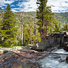 A number of lakes in the Desolation Wilderness contribute to this stream and falls, which leads to Glen Alpine Springs and Lily Lake
