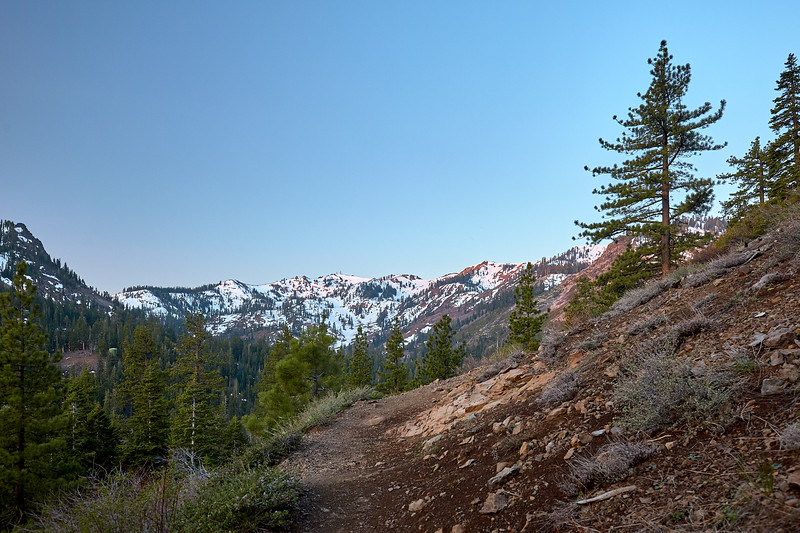 The start of the Five Lakes Trail.  Morning light hitting Alpine Meadows.