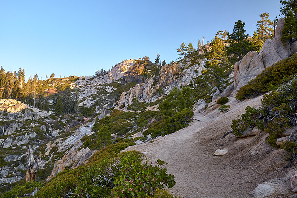 The last half of the Five Lakes Trail is a gradual, pleasent climb along the side of the canyon.