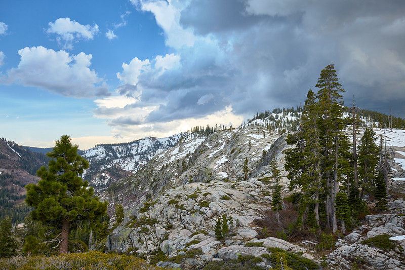 Thunderstorms building over the Granite Chief Wilderness and moving towards the little snow remaining at Alpine Meadows.