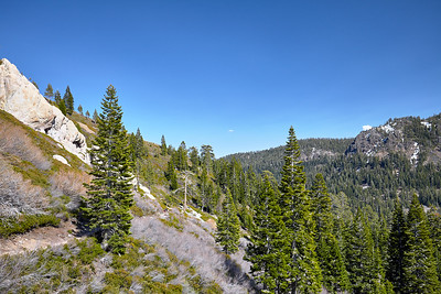 Looking back towards the Truckee River valley and the start of the Five Lakes Trail, about one-third of the way up the trail.