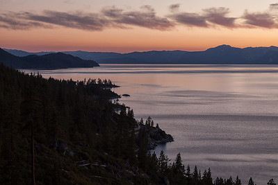 Sunset looking down the eastern shore of Lake Tahoe, from Tunnel Creek Trail.
