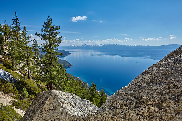 Looking down the east shore of Lake Tahoe from the Flume Trail.