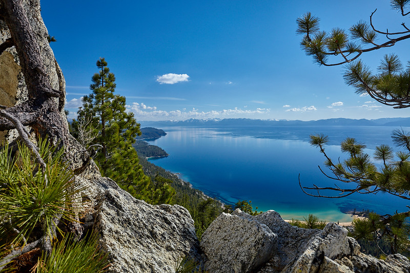 Looking down over Sand Harbor from the Flume Trail.