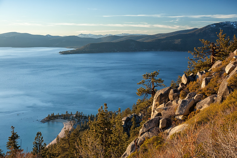 Sand Harbor and Crystal Bay from the Flume Trail in late afternoon.