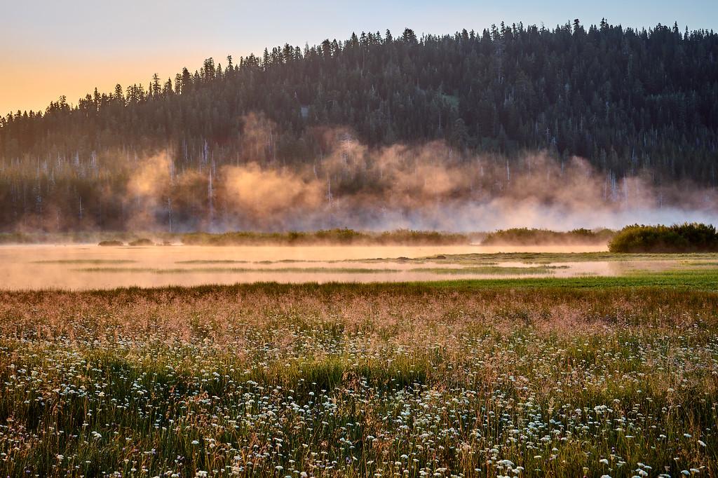 Morning fog over Webber Lake