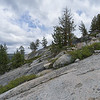 Hiking the large granite slabs about a half-mile into the Loch Leven Lakes trail.