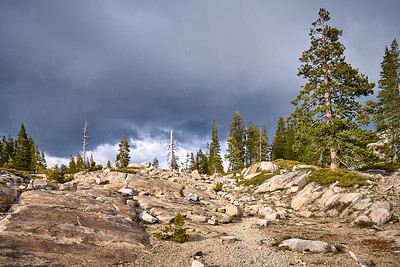 Can you spot the trail?  Much of the Loch Leven Lakes trail is on granite slabs and is marked by small cairns.