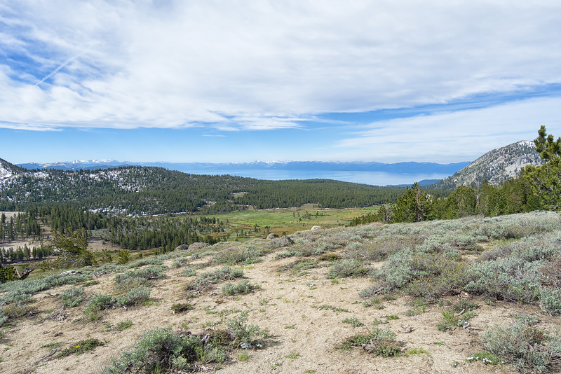 Overlooking Tahoe Meadows and beyond to Lake Tahoe at the beginning of the Mt Rose Summit trail.