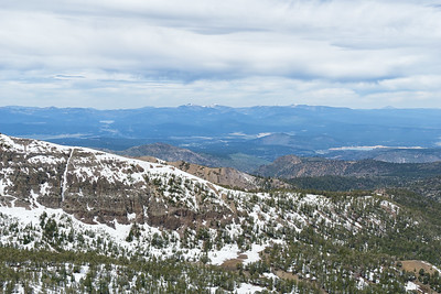 Looking northwest from Mt Rose Summit.  Donner Lake is distant to the left, Boca Reservoir to the right and Prosser Reservoir left of that.  Mt Lassen is visible in the distance above Boca Reservoir.