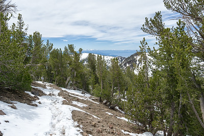 First views of Lake Tahoe on the switchbacks heading up to Mt Rose Summit.