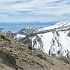 The trail winding around the west side of Mt Rose, looking back towards Lake Tahoe.