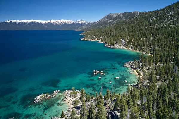 Aerial view of the east shore of Lake Tahoe from near Whale Beach.