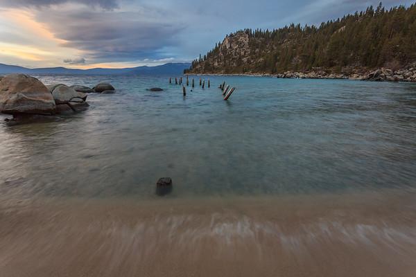 The old dock pilings at Skunk Harbor, Lake Tahoe.