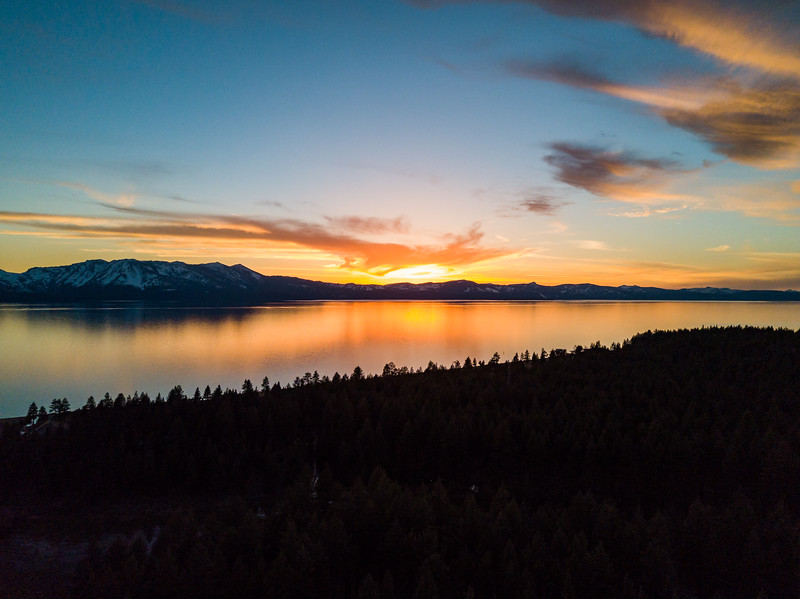 aerial sunset tahoe