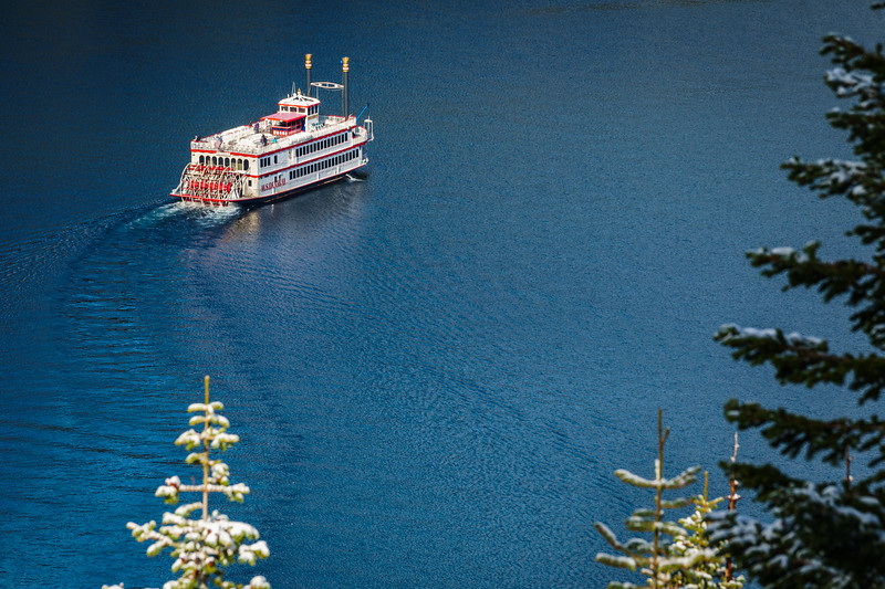 The M.S. Dixie II in Emerald Bay, Lake Tahoe, on a cold November morning