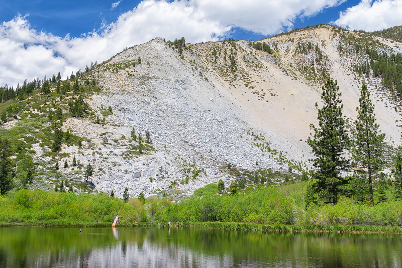 Appropriately named Slide Mountain (9,698') behind small, secluded Price Lake