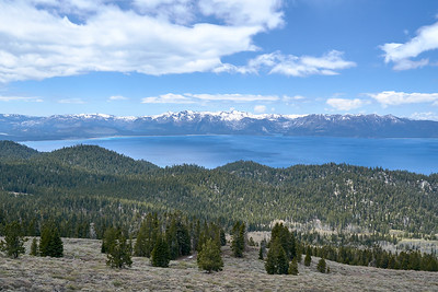 Emerald Bay, Cascade Lake, and Fallen Leaf Lake visible across Tahoe from South Camp Peak, Tahoe Rim Trail.