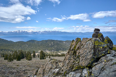 View from the plateu of South Camp Peak along the Tahoe Rim Trail.  Emerald Bay visible in the distance.